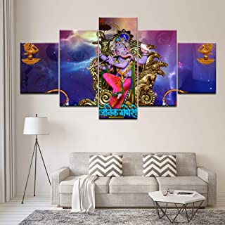 ZHFFYY Wall Decor Wall Art Canvas Paintings Hd Prints 5 Pieces India Elephant Trunk God Modular Poster Ganesha Home Decor for Living Room Pictures