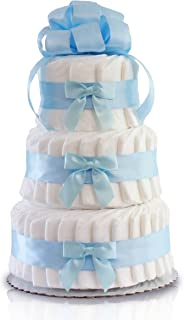 Classic Pastel Baby Shower Diaper Cake (3 Tier, Blue)