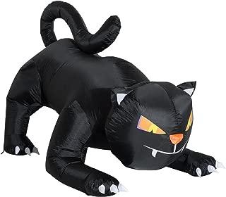 HOMCOM 6' Giant Creeping Black Cat LED Light Outdoor Airblown Inflatable Halloween Yard Decration