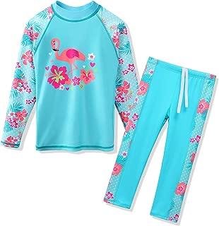 Girls Two Piece Swimwear butterflyflower Dots Printed Swimsuit UPF 50+ UV 3-10Y