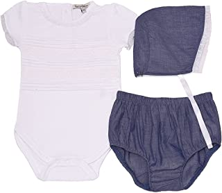 Harry & Violet Baby Girls White Blue Bodysuit Bottoms Bonnet 3 Pc Outfit 3-24M