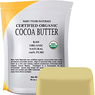Organic Cocoa Butter (1 lb), USDA Certified by Mary Tylor Naturals Raw Unrefined, Non-Deodorized, Rich In A...
