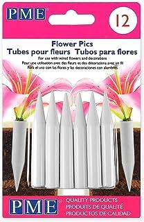 PME FP301 Lot de 12 Tubes Moyens pour Fleurs, Plastique, Blanc, 0,8 x 0,8 x 5,6 cm