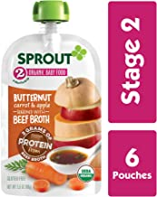 Sprout Organic Stage 2 Baby Food, Butternut, Carrot & Apple w/ Beef Bone Broth, 3.5 Ounce Pouch (Pack of 6)