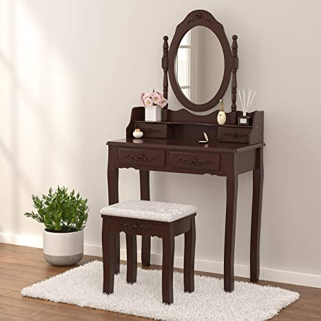 Amazon Com Mecor Vanity Table Set Makeup Table With Oval Mirror Stool Wood Dressing Table With 4 Drawers Girls Women Bedroom Furniture Brown Kitchen Dining