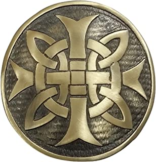 "Cross Round Men's Scottish Kilt Belt Buckle Antique/Chrome Finish 3""/Celtic Belt Buckles"