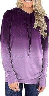 Angashion Womens Hooded Sweatshirts Striped Color Block Drawstring Pullover Hoodies with Kangaroo Pocket