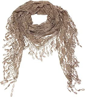 Falari Vintage Women Lace Scarf With Fringes Polyester Lightweight