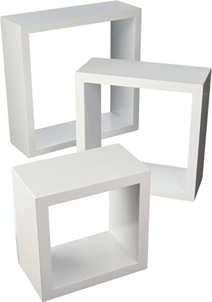 Organize It All Wall Mounted Floating Cube Shelves Set Of 3 White