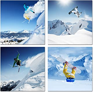 Live Art Decor - Sports Canvas Wall Art Snow Mountain Landscape Painting Canvas Art Snowboard Poster Ski Prints Framed and Stretched on Canvas for Gym Store Living Room Decoration
