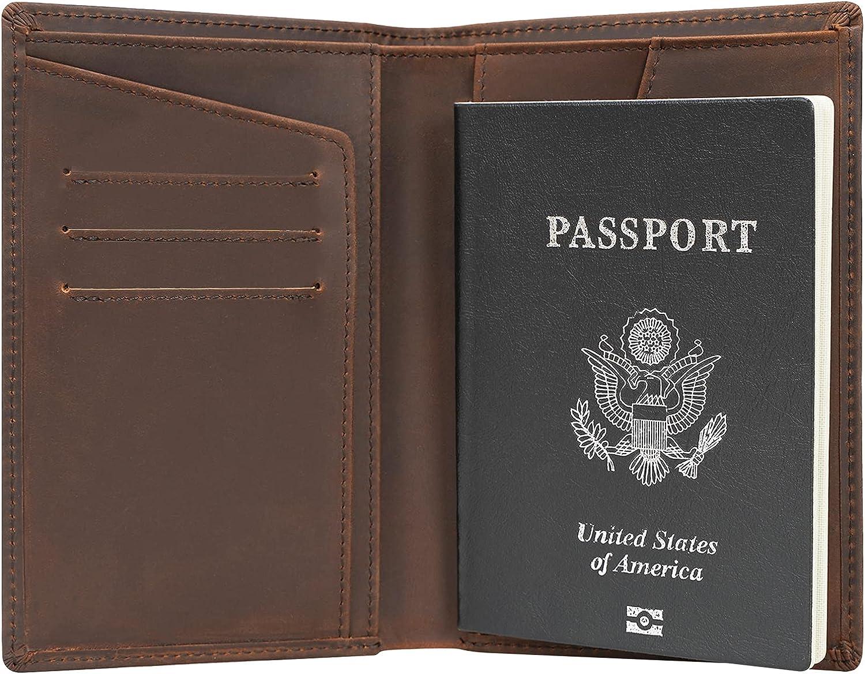 Polare Functional RFID Blocking Leather Passport Holder Travel Bifold Wallet For Men(Dark Brown)
