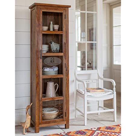 Angel Furniture Baltimore Solid Sheesham Wood Tall Crockery Cabinet Honey Finish, 55x35x180cm Semi Gloss