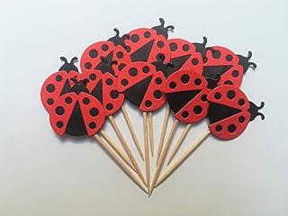 Fantacartando Kit 10 cupcake toppers stuzzicadenti coccinelle per decorare la tavola per compleanno, baby shower, Battesim...