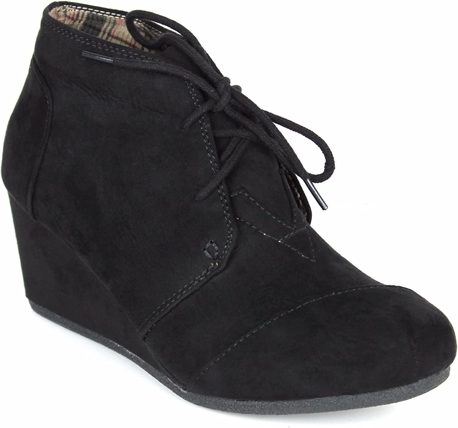 Forever Link Women's Round Toe Lace Up Wedge Heels Suede Ankle Boots Booties