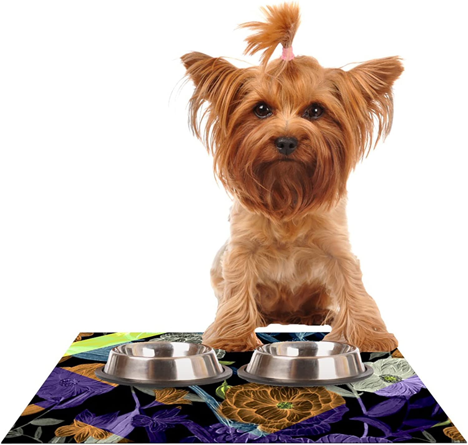 KESS InHouse Gabriela Fuente Wonder  Pet Bowl Placemat for Dog and Cat Feeding Mat, 24 by 15Inch, Dark Flower