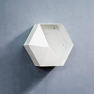 LXYFMS Hexagon Wrought Iron Shelf Bookshelf Wall-mounted Dining Room Wall  30cm  white  Yellow  Brown  Shelf  Color White