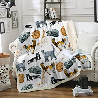 Sleepwish Cat Fleece Throw Blanket Hipster Cats Pattern Sherpa Plush Throw Blanket for Couch Bed Kids Girls Vintage Animal Blanket (50