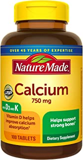 Nature Made Calcium 750 Mg with Vitamin D and K 100-Count