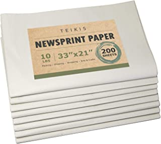 TeiKis Clean Newsprint Packing Paper Unprinted - 200 Sheets, 10 lbs, 33 x 21 inch for Moving, Packing and Storing