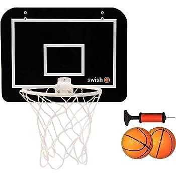 Swish Sports Mini-Basketballkorb für den Innenbereich, inklusive Rückwand, Pumpe und zwei Gummibälle, geeignet zum Aufhängen über Haus, Büro oder Schlafzimmertüren