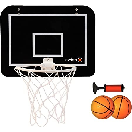 Swish Sports Indoor Mini Basketball Hoop With Backboard Pump And Two Rubber Bouncy Balls Suitable For Hanging Above Home Office Or Bedroom Doors Amazon De Sport Freizeit