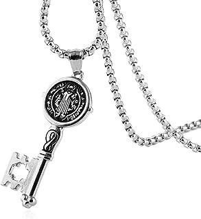 HZMAN Saint St Benedict of Nursia Patron Against Evil Key Pendant Stainless Steel Necklace
