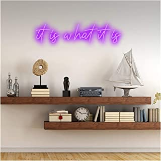 Custom It is What It is Neon Signs, Neon Lights Personalized Handmade Led Neon Text Sign for Wall Art Bedroom Wedding Part...