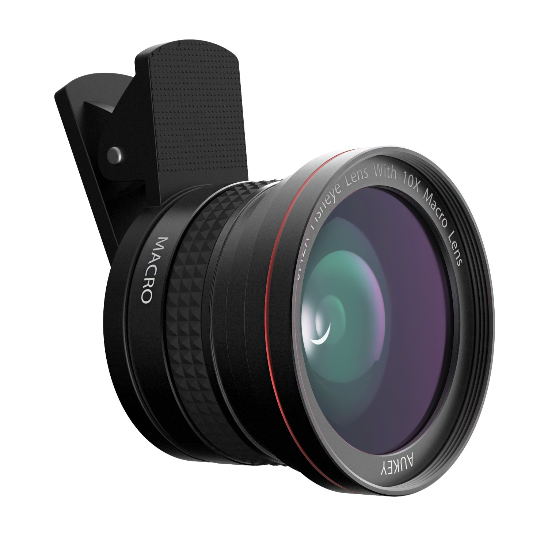 AUKEY pl-f1 Kit de 0.42 x Objetivo Fisheye de 180 ° con 10 x Objetivo Macro para iPhone 6/6 Plus/6S/6S Plus/iPad/Samsung/Wiko/Tablet/etc. Negro: Amazon.es: Electrónica