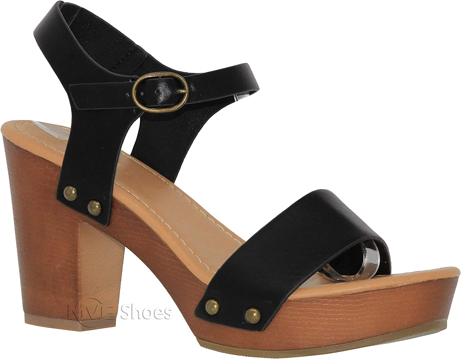 MVE Shoes Women's Regular discount Ankle Strap Wood Max 65% OFF Platform Chunky Heel Faux