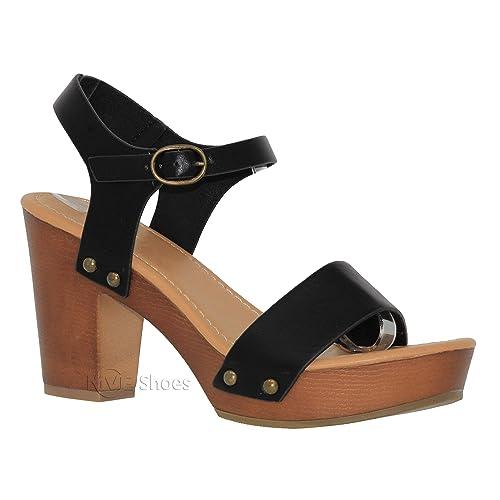 65c916d0e4 MVE Shoes Women's Ankle Strap Faux Wood Platform Chunky Heel Sandal