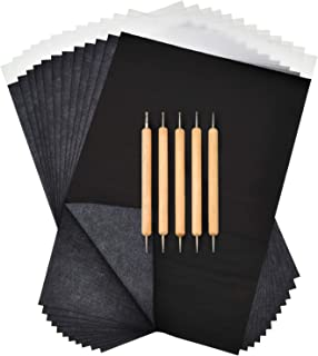 Boao 100 Sheets Black Carbon Paper Transfer Tracing Paper and 5 Pieces Double Ended Tracing Stylus Dotting Tools for Wood ...