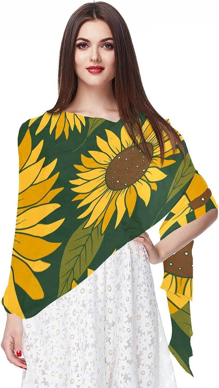 Retro Sunflowers Women Soft Chiffon Pashmina Shawl Wrap Scarf for Bridesmaid Wedding Formal Party Evening Dress