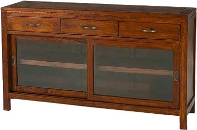 MACABANE Buffet avec 2 Portes coulissantes vitrées/3 Tiroirs, Bois, 40 x 145 x 85 cm