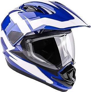 Typhoon XP14 Full Face Dual Sport Helmet Off Road UTV ATV Motorcycle Enduro - Blue - XL