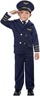أزياء كاليفورنيا تنكري للأطفال الصغار زي طيار أزرق داكن،(4_3) تي دي