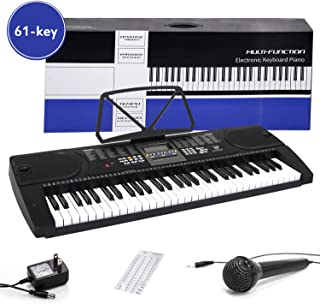 $79 Get Digital Electric Piano 61-Key Portable Electronic Keyboard with Power Adapter, Sheet Music Stand for Beginners (Kids & Adults) Includes Microphone and Keyboard Sticker