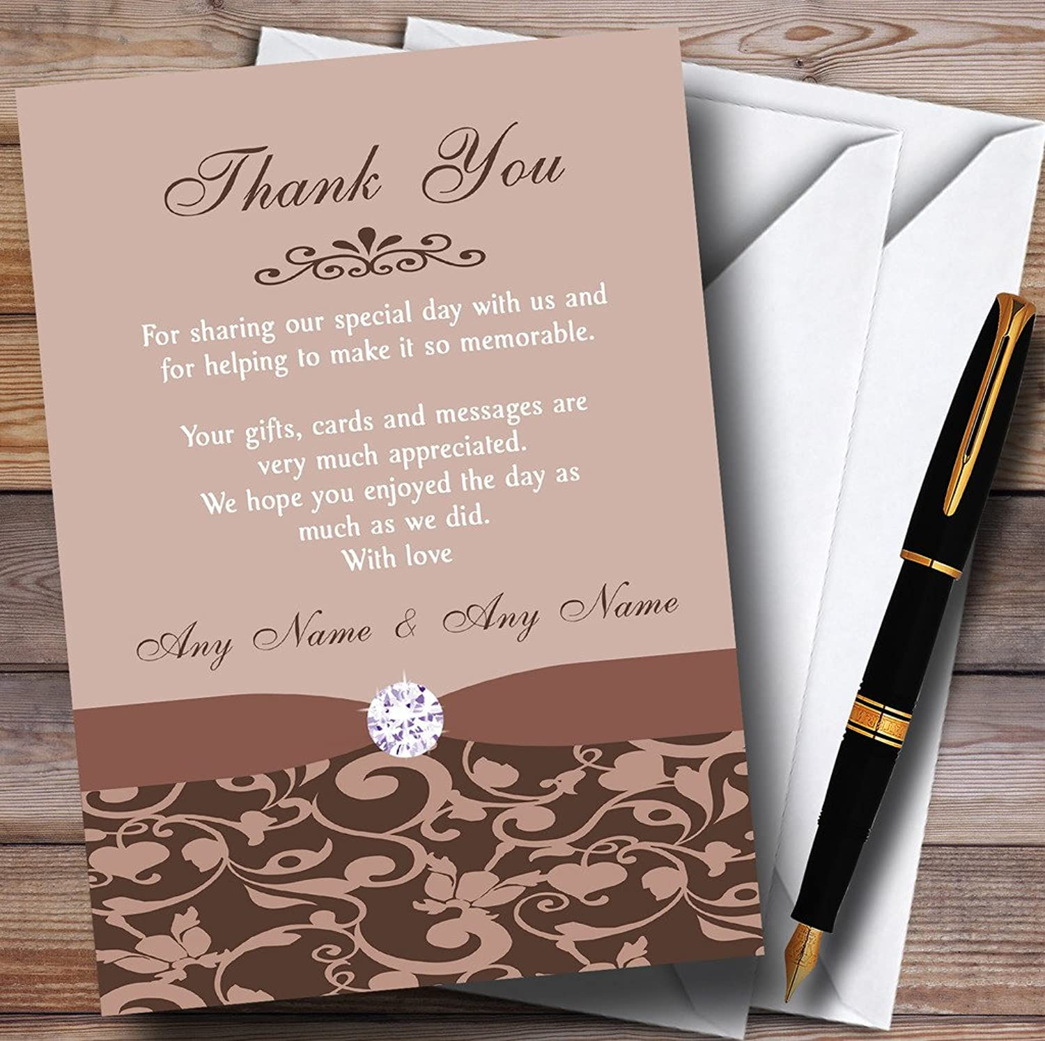 Brown And Fawn Vintage Floral Damask Diamante Personalised Wedding Stationery Thank You ...