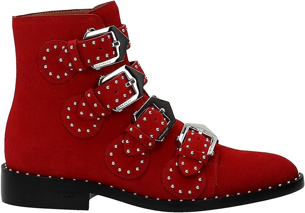 Givenchy,  stivaletti per donna in camoscio rosso, con cinturini e borchie BE08143124600