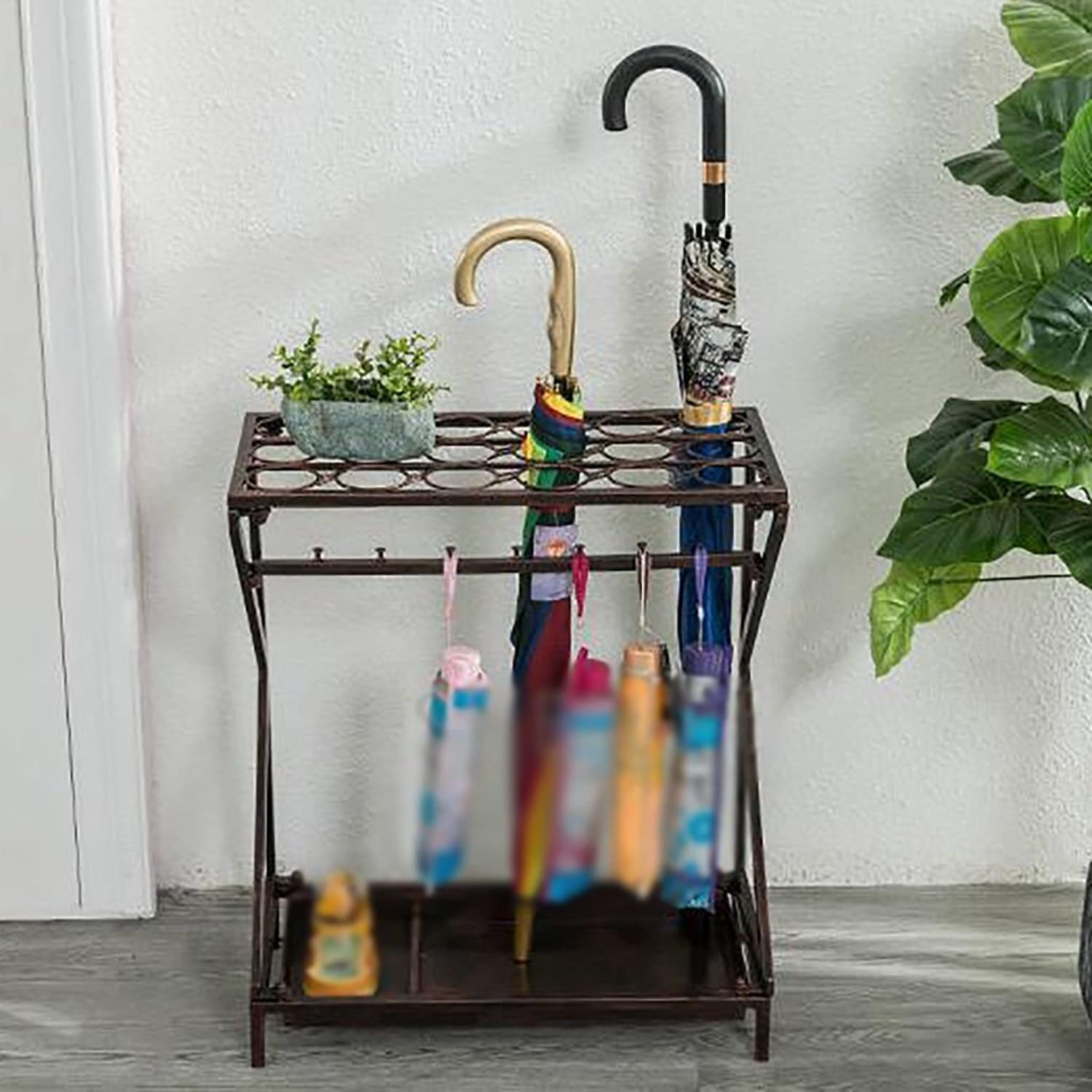 Umbrella Stand Household Umbrella Stand Hotel Lobby Umbrella Storage Rack Wrought Iron Floor Umbrella Storage Shelf Foyer Office Umbrella Bucket (color   E)