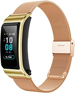 XIHAMA 18mm Stainless Steel Huawei Watch Strap, Quick Release Breathable Watch Band Compatible with Huawei Watch Huawei Fit Withings Activite (Rose gold)