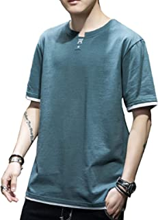 Tシャツ メンズ 半袖 カットソー 白 スポーツシャツ 服 シャツ カジュアルシャツ 黒 トップス 無地 夏 おしゃれ 綿100 大きいサイズ ゆったり 薄手 M-4l