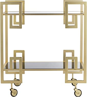 Safavieh Eliza Bar Cart, Brass and Black Glass