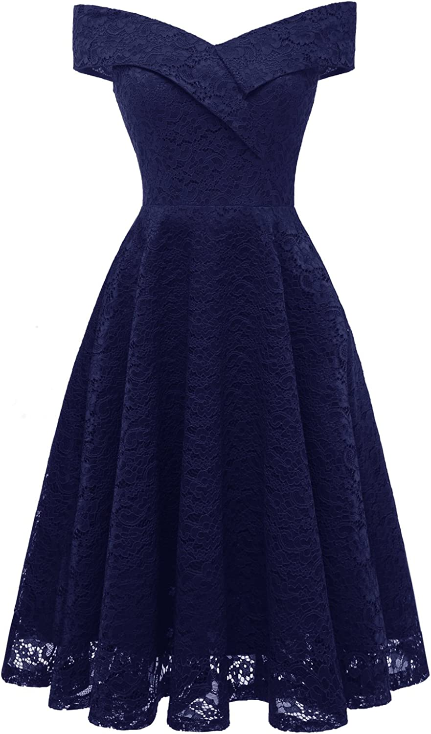 Women's One-Shoulder lace At the price of surprise Dress Brid Party NEW before selling ☆ Flare Patchwork