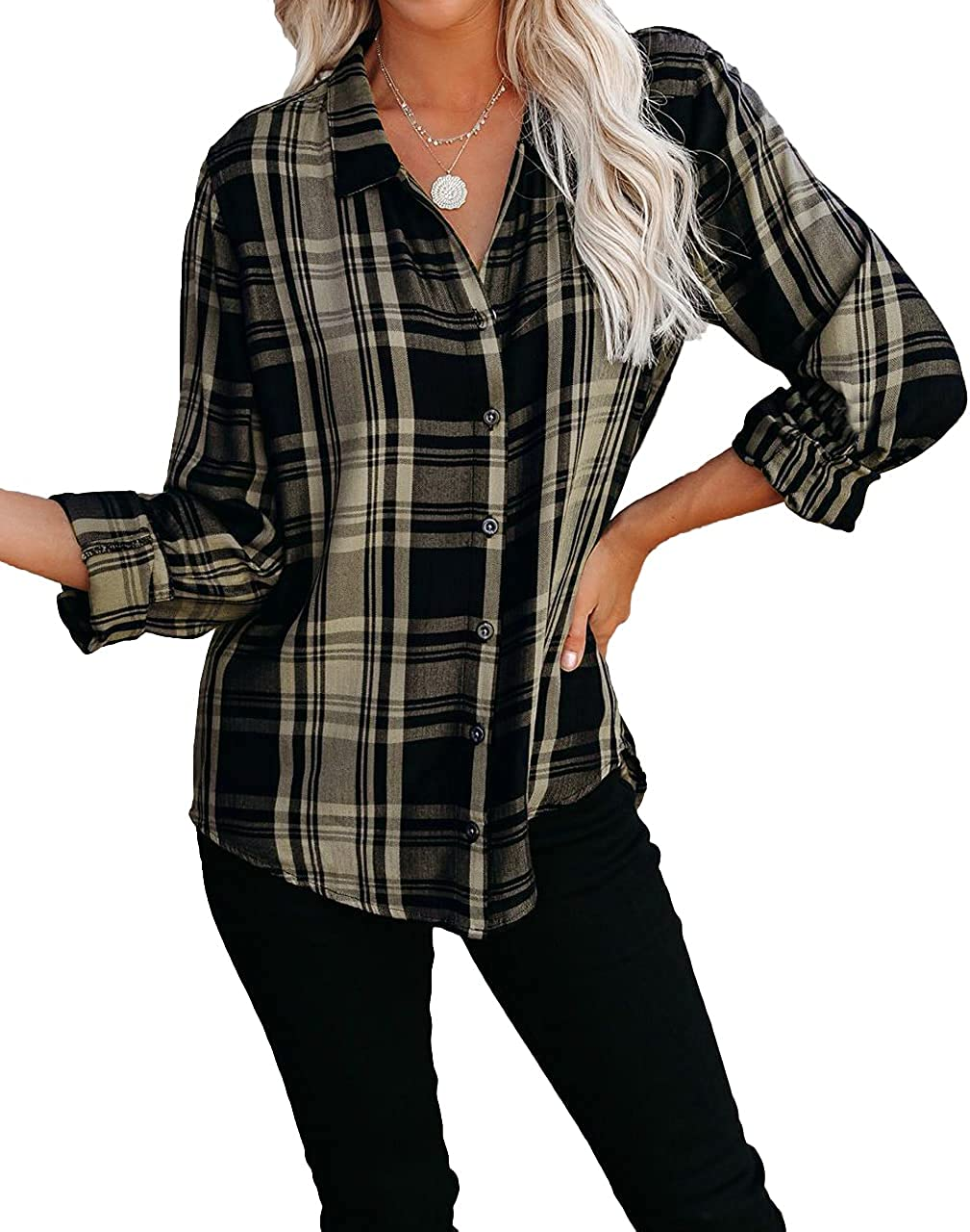 Lesore Womens Casual Long Sleeve Button Down Plaid Shirts Blouses Tops S-XXL