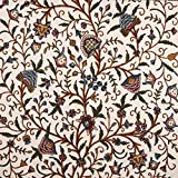 Kashmir Danzdar Vintage Jacobean Floral Hand Embroidered Wool on Cotton Crewel Fabric by The Yard - 54' Wide Multicolored for Home Decor | Windows Curtain Drapery Panel | Designer Upholstery Fabrics