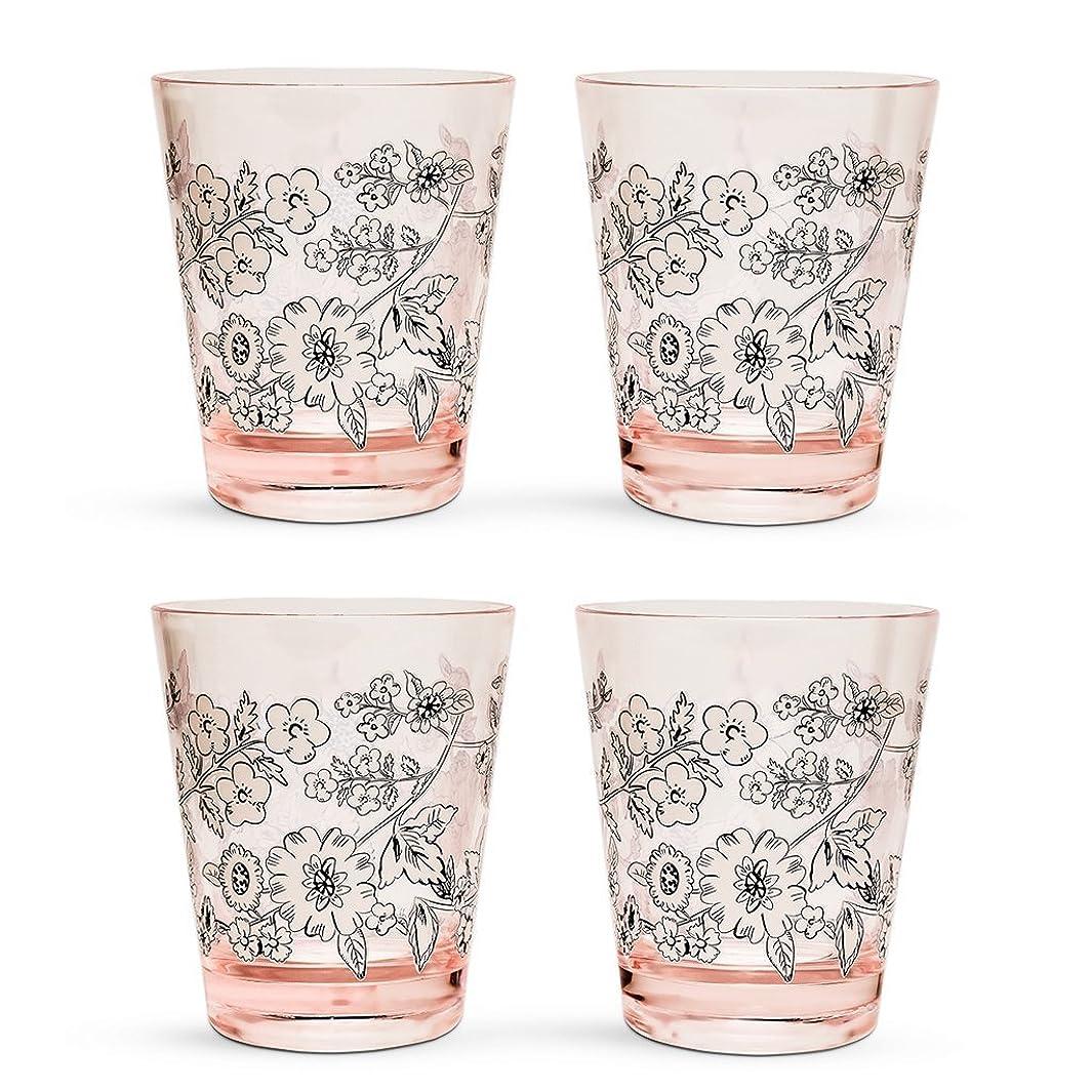 Vera Bradley Women's Acrylic Reusable Tumbler Plastic Cups Set of 4, Dishwasher Safe, 14oz (Cream Floral)