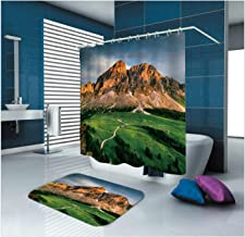 Epinki Polyester Washable Bathroom Curtain Set Green Mountain Range Shower Curtain with 12 Hooks Size 165x200CM Bathroom C...
