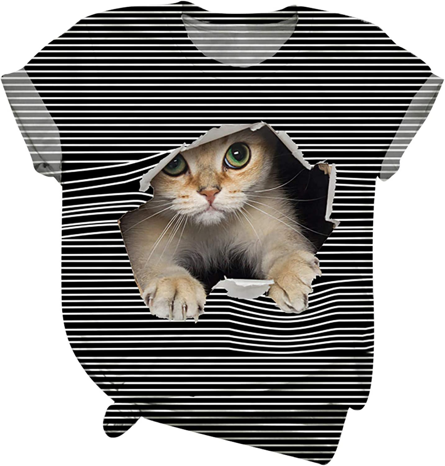 Plus Size Tops for Women Color Stitching Tunics 3D Cat Cool Graphic Printed Blouse O-Neck Casual T-Shirt