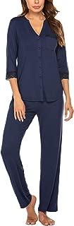 Pajamas Set Women's Two Piece Sleepwear PJs Lace Nightwear Button Down Loungewear