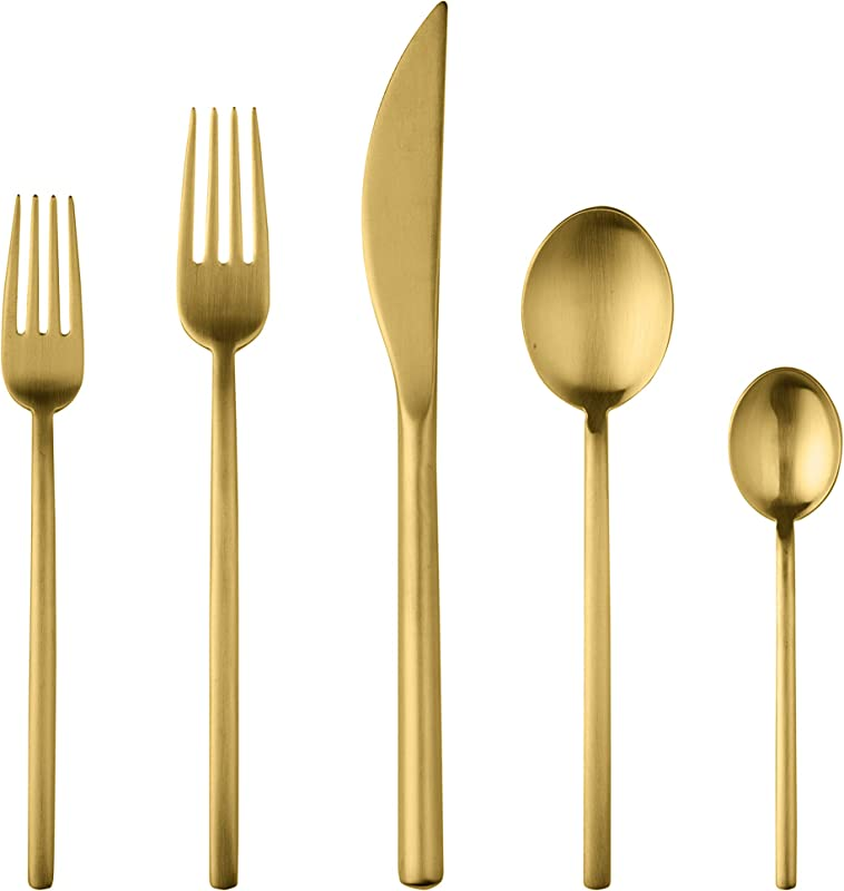 Mepra Due Ice Oro 5 Piece Place Setting Brushed Gold 108022005